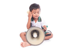 Little boy play megaphone Royalty Free Stock Image