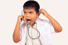 Little boy play stethoscope Royalty Free Stock Photo