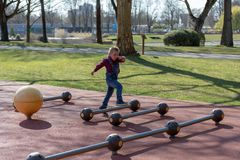 Little boy  play in summer park. Child with colorful clothes royalty free stock photo