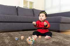 Little boy play toy block Royalty Free Stock Photography