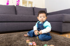 Little boy play toy block Stock Photography