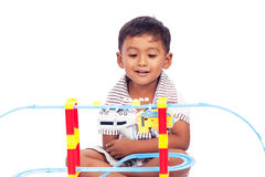 Little boy play train toy Royalty Free Stock Photo
