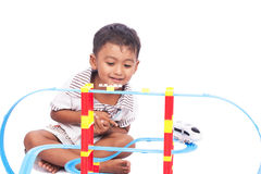 Little boy play train toy Stock Photography