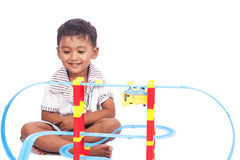 Little boy play train toy Royalty Free Stock Photos