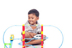 Little boy play train toy Royalty Free Stock Image
