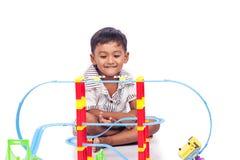 Little boy play train toy Royalty Free Stock Photos