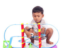 Little boy play train toy Royalty Free Stock Images