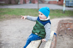 Little boy on playground Royalty Free Stock Images