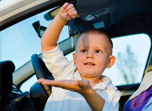 Little boy playiing with car keys Royalty Free Stock Photography