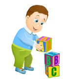 Little boy playing with abc alphabet cubes. Vector cartoon background Stock Images