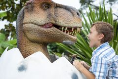 Little boy playing in the adventure dino park stock photos