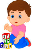 Little boy playing with alphabet block. Vector illustration of little boy playing with alphabet block Royalty Free Stock Photography