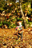 Little boy playing with Autumn leaves Stock Image