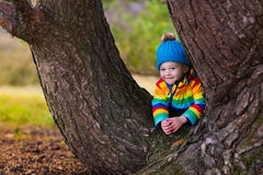 Little boy playing in autumn park Royalty Free Stock Photography