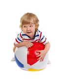 Little boy playing with a ball Royalty Free Stock Photography