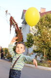 Little Boy Playing with Balloon Royalty Free Stock Photography
