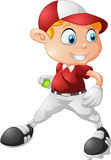Little boy playing baseball cartoon Stock Photo