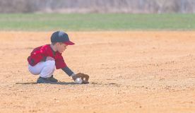 Child Fields a Ground Ball During a Baseball Game. A little boy playing baseball squats down to field a ground ball that was hit in his direction stock photo