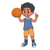 Little boy playing basketball cartoon Royalty Free Stock Photography