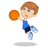 Little boy playing basketball cartoon vector illustration Stock Image