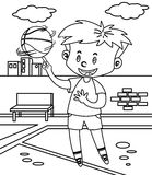 Little boy playing basketball coloring page. Hand drawn cute little boy playing basketball coloring page for kids vector illustration