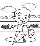Little boy playing basketball coloring page. Hand drawn cute little boy playing basketball coloring page for kids royalty free illustration