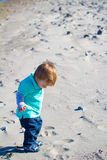 Little Boy Playing at Beach Royalty Free Stock Photography