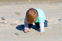 Little Boy Playing at Beach Stock Photo