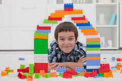 Little boy playing with blocks Stock Image