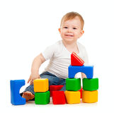 Little boy playing with building blocks Royalty Free Stock Photos
