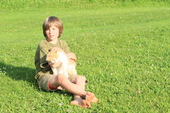 Little boy playing with a cat. Sitting barefoot boy playing with orrange and white cat on meadow Royalty Free Stock Photos