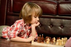 Little boy playing chess. At home. Games and activities for children. Family concept royalty free stock photos
