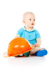 Little boy playing with construction helmet Royalty Free Stock Photo