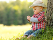 Little Boy Playing Cowboy In Nature Royalty Free Stock Photo