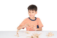 Little boy playing dinosaur fossil toy on the table indoor activities Royalty Free Stock Photography