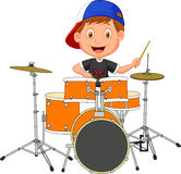 Little boy playing drum Stock Photography