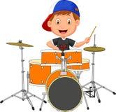 Little boy playing drum vector illustration