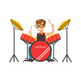 Little boy playing drums, little drummer. Colorful character vector Illustratio. Little boy playing drums, little drummer. Cute talented young boy play on Royalty Free Stock Photo