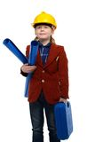 Little boy playing engineer role Royalty Free Stock Photos