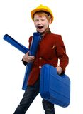 Little boy playing engineer role Royalty Free Stock Images