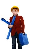 Little boy playing engineer role Stock Images