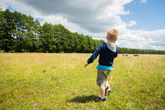 Little boy playing in a field near the big stones Stock Photography