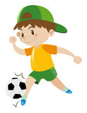 Little boy playing football. Illustration Stock Photography