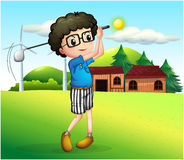 A little boy playing golf. Illustration of a little boy playing golf Stock Photos