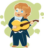 Little boy playing guitar cartoon Stock Photography