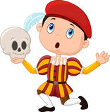 Little boy playing Hamlet in a school play, holding a skull Stock Photography