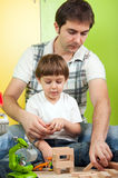 Family father boy educational play Royalty Free Stock Images