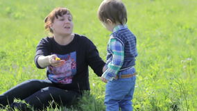 Little boy is playing with his mum in the park. stock video footage