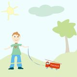 Little boy playing with his toy. Abstract vector art illustration Royalty Free Stock Photo