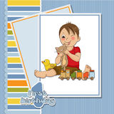 Little boy are playing with his toys. On his first birthday Royalty Free Stock Photography